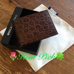 Bosca Brown Leather Bi-Fold Wallet & Silk Square